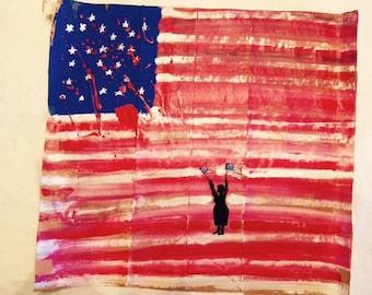 Our United States Flag After 9-11-2001 blood splattered