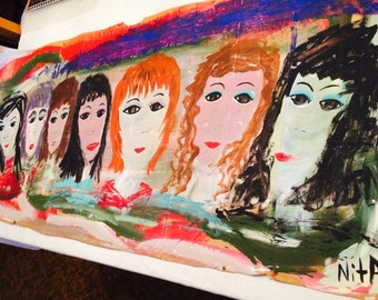 SEVEN LADIES all dressed up original painting