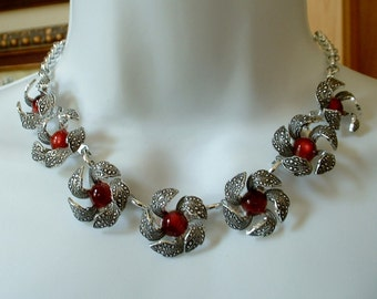 Vintage Cast Early Plastic Marcasite Necklace INCREDIBLE Red Moon Glow Lucite Cabochon Center Flower Necklace