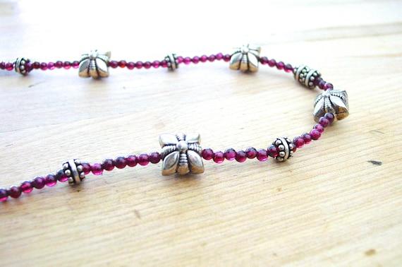 Garnet Bali Silver Necklace Heart Toggle January Birthstone