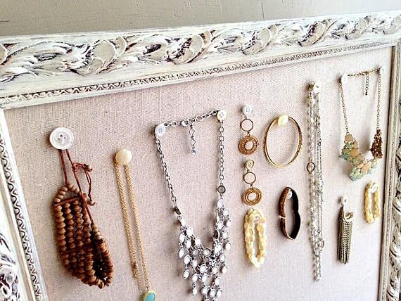 JEWELRY Wall ORGANIZER Linen Pinboard LARGE Fabric Cork Board