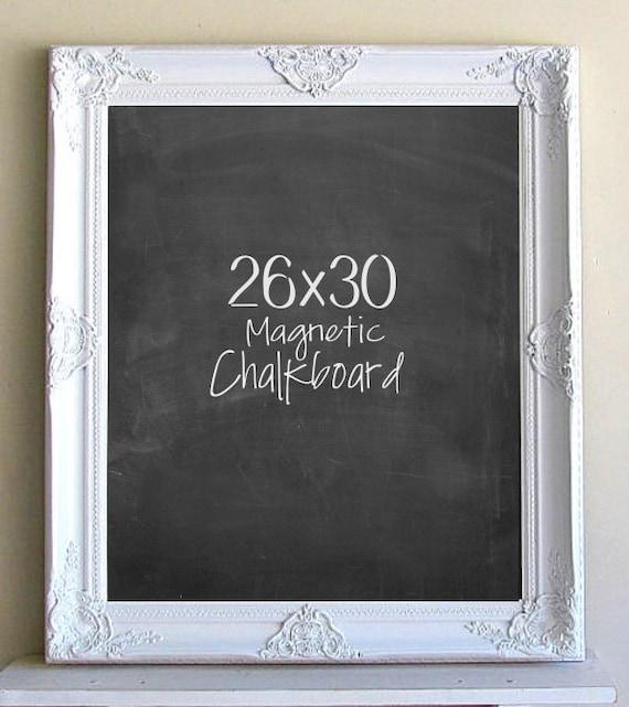 WHITE FRAMED CHALKBOARD Wedding Sign Kitchen Chalkboard Magnetic Chalkboard Black and White Decor Home Office Desk Organizer Kitchen Decor