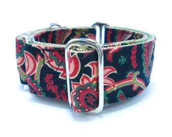 """Houndstown 1.5"""" Midnight Paisley Martingale or Buckle Collar Size Small through X-Large"""