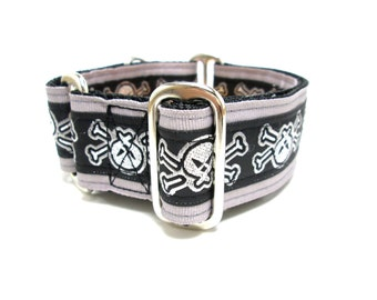 "Houndstown 1.5"" Skulls Unlined Buckle or Martingale Collar, Any Size"