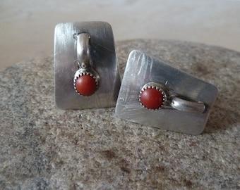 Sterling and Carnelian Screw Back Earrings, Modern Southwest Silver Earrings