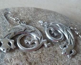 Pewter Gecko Lizard Earrings, Dangle Earrings, Southwest Lizard Jewelry