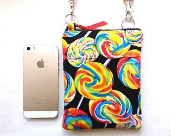 Candy Crossbody Bag/Sling Shoulder Bag/Hip Bag/iPhone6 Padded Zipper Purse W/Outer Pocket -Lollipops Black White Blue Red Yell