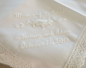 Wedding Handkerchief:  Ivory color cotton Lace Handkerchief with Mother of the Bride, Names & Date