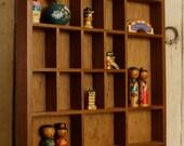 Vintage Wood Knick-Knack Shelf, Divided Display Box, Wall Hanging, Wall Decor,  Miniatures Shelf, Display Shelf, Home & Living, Home Décor