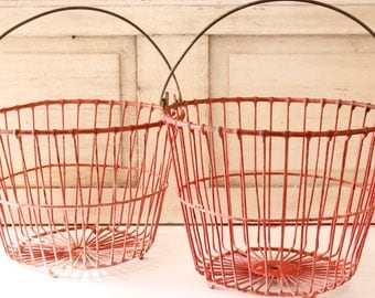 Antique Red Metal Egg Basket Pair, Lancaster County Fresh Eggs, Extra Large Storage Basket, Home & Living, Farmhouse Decor, Home Decor'