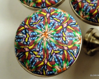 8 UNIQUE Yellow Blue Red Kaleidoscope Decorative Cabinet Knobs 40 available Handmade Polymer Clay Yellow Blue Red