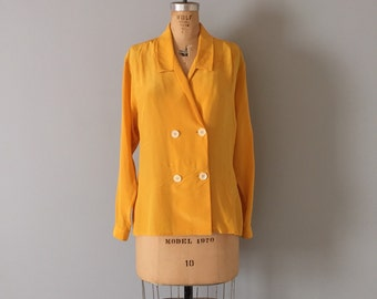 Christian Dior silk blouse / mustard yellow silk blouse