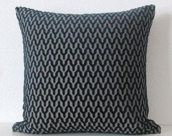 Midnight blue chevron zig zag geometric plaid decorative pillow cover