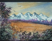 aceo art painting landscape watercolour ref 223