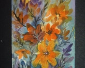 flowers art painting original aceo SFA watercolour ref 225
