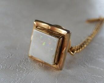 Opal Tie Tack, Vintage Tie Tack, Men's Accessories, Gift for Him