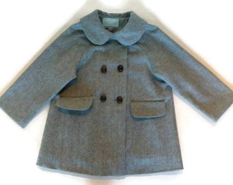 Child's Wool Coat vintage inspired - green
