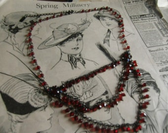 Vintage Ruby Colored Beaded Necklace