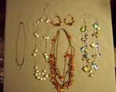 Vintage Lot 4 1980s Necklaces Beaded Fringe Multi Strand Styles & Pierced Earrings 8240