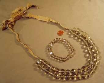 Vintage 1980s Faceted Smoky Glass Bead 2 Strand Necklace & Matching Stretch Bracelet 8215