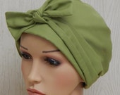 Cotton Chemo Caps, Olive Green Cancer Head Wrap, Cotton Chemo Head Wear, Chemotherapy Patients Cap