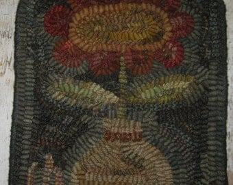 Folk Art Primitive Hand Hooked Rug- Wonky Red Flower