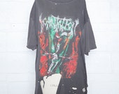 Vintage INCANTATION 90s Death Metal T-Shirt Faded Soft DESTROYED