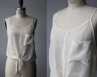 Vintage Sheer Ivory Crop Top with Chest Pocket Tie Front Bow Tank Spaghetti Strap Blouse S