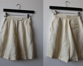 Vintage Cream LINEN High Waist Pleated Shorts Cuffed Classic Ivory White XS