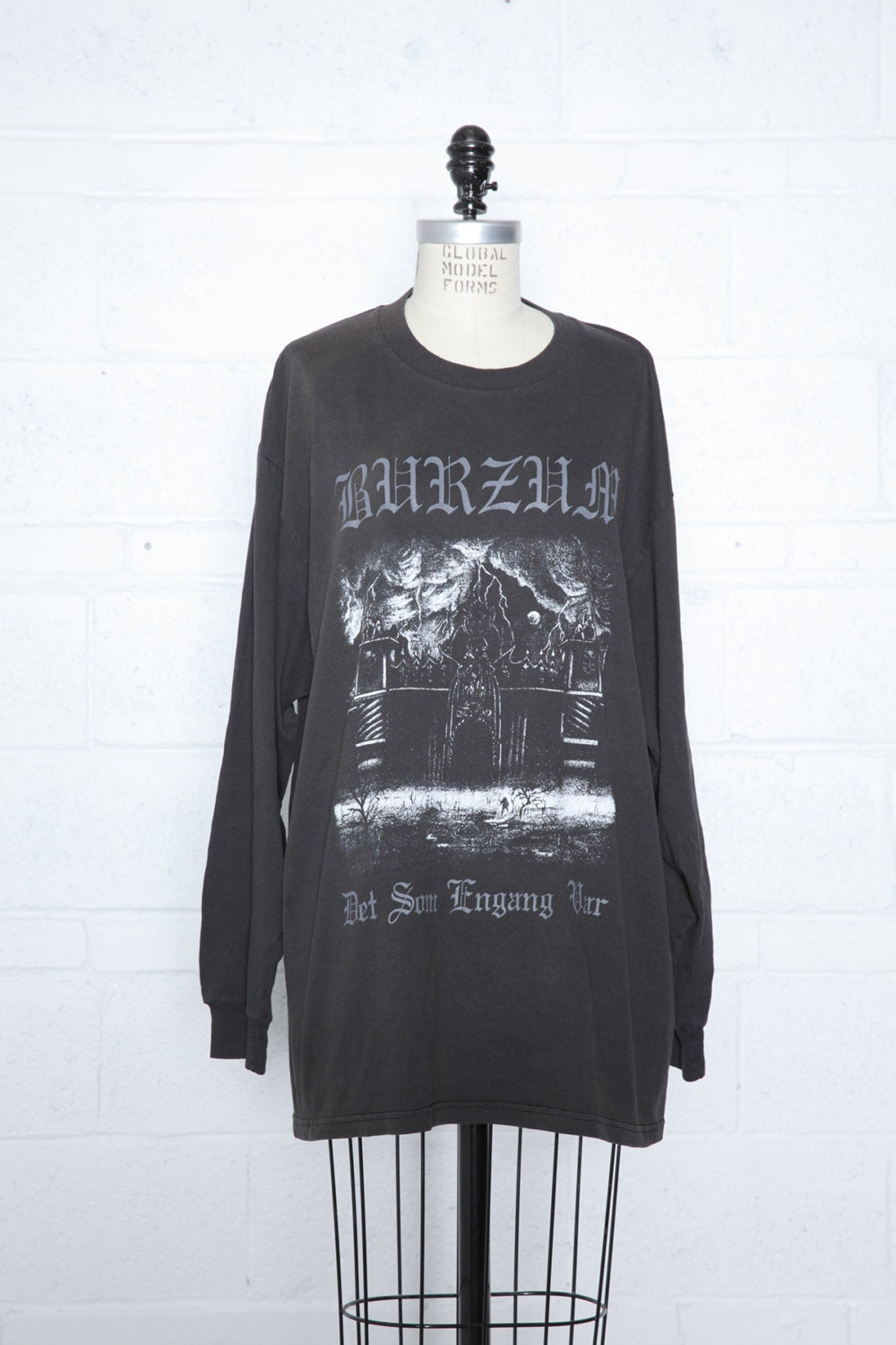 Vintage BURZUM 90s Black Metal T-Shirt Long Sleeve Faded Soft