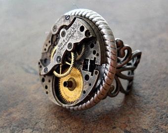 Bold Victoriana Steampunk Ring in Silver EXCLUSIVE DESIGN