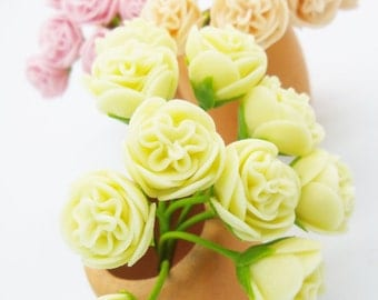 Miniature Cabbage Roses Polymer Clay Flowers for Dollhouse Wedding Gift Beaded Jewelry 12 pieces, assorted