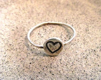 Heart Stacking Ring Silver Ring