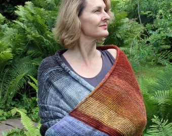 Chickadee - Chunky warm knit throw, cotton mohair silk knit wrap to slip over your shoulders on the couch, terrace, hammock