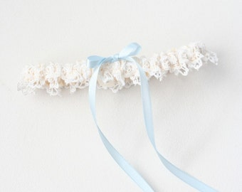 Lace Garters, Keepsake Garter Lace, Lace Bride Gift, Garter Lace Blue, Garter Ivory Blue, Ivory Garter Blue, As Seen The Knot, FREE SHIPPING