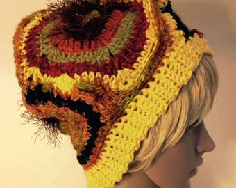 SALE Freeform Crochet Wearable Art Yellow Hat Fall Colors One of a Kind Reduced Price