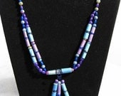 WOW Paper bead, wire wrapped necklace- Medium length, blue, purple, aqua