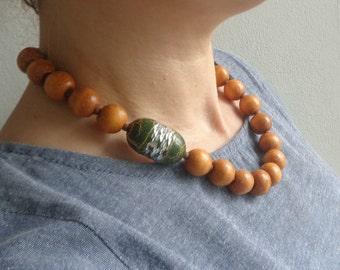 Brown orange green necklace