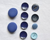 10 Vintage Buttons, Blue Buttons, Blue Shades, Mixed Buttons, Circles, Fabric Buttons, Sewing Notions, Vintage Sewing Supplies, UK Buttons