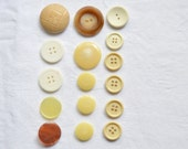 16 Vintage Buttons, Neutral Buttons, Brown, Beige, Mixed Buttons, Circles, Sewing Notions, Vintage Sewing Supplies, UK Buttons