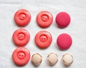 10 Vintage Buttons, Pink Buttons, Bright, Pastel, Pretty Buttons, Circles, Sewing Notions, Vintage Sewing Supplies, UK Buttons, Mixed Sizes