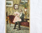 Vintage English Postcard, Risque, Humourous, Edwardian,1900s, Collectible, Early Colour Postcard, Practice Makes Perfect, Bamforth 1239