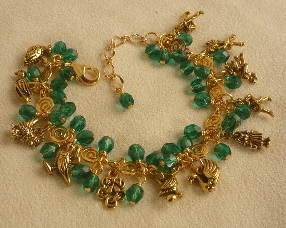 12 Days of Christmas Charm Bracelet with Emerald Fire Polished Crystals