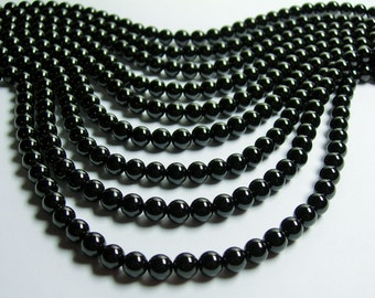 Black Spinel - 6mm round beads -1 full strand - 63 beads - AA Quality - RFG604