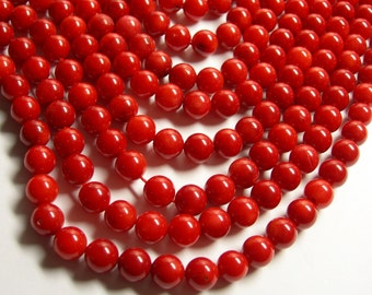 Coral red - 8mm round bead -  full strand  - 48 beads - A quality - RFG557