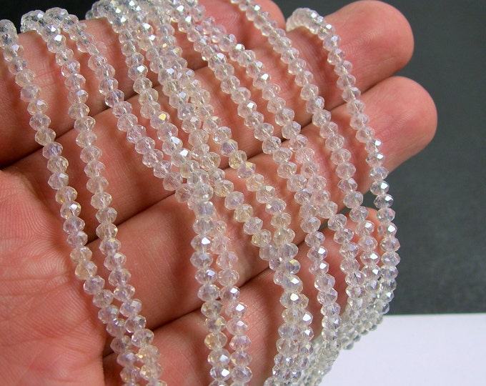 Crystal - rondelle faceted 3.5mm x 2.5mm beads - 140 beads - clear - AB - full strand - MAC13