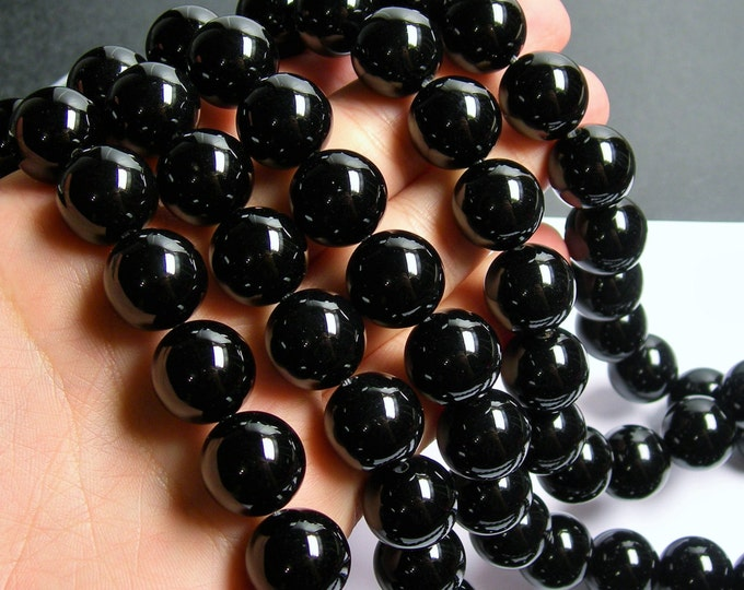 Black Onyx - 16mm round beads -1 full strand - 28 beads - AA quality - RFG460