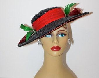 SALE Vintage 1930s VICTORIAN Hat / Black Wide Brim Tilt Hat / Patrice Model / Red Ribbon & Feathers Plumes