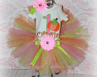 Girls Birthday 3 Piece Glitter First PUMPKIN Tutu Outfit Pink, Orange & Green INCLUDES TuTu, Hairpiece and Top Choose Size, Number, Colors