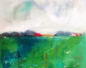 Green Turquoise Abstract Landscape Painting Original- Meadow View 24 x 24